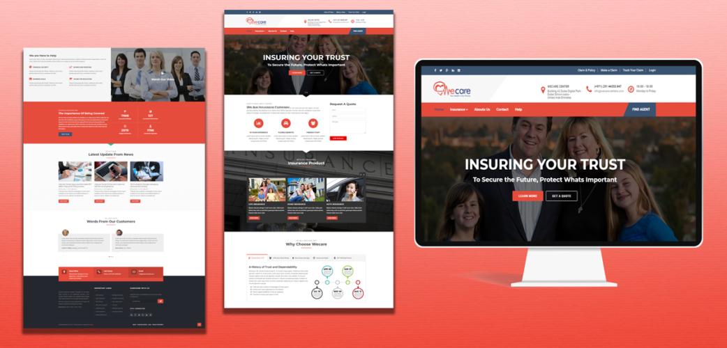 Insurance Website development for Wecare Centere